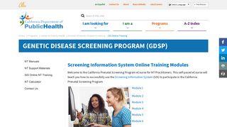 SIS Online Training - California Department of Public Health - CA.gov