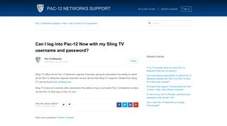 Can I log into Pac-12 Now with my Sling TV username and password ...