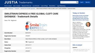 smiletrain express a free global cleft care database - Justia Trademarks