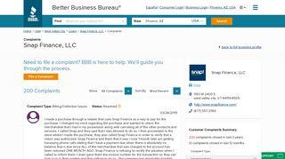 Snap Finance, LLC   Complaints   Better Business Bureau® Profile