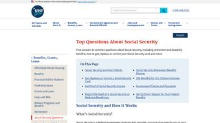Top Questions About Social Security   USAGov