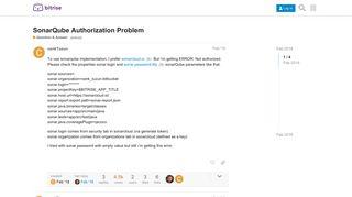SonarQube Authorization Problem - Question & Answer - Bitrise ...