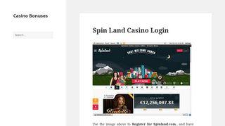 Spin Land Casino Login - Casino Bonuses