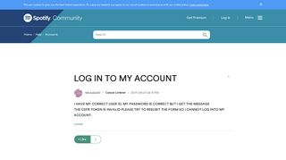 LOG IN TO MY ACCOUNT - The Spotify Community