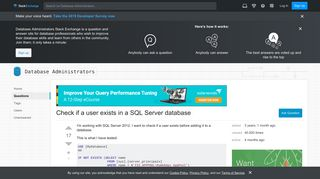 Check if a user exists in a SQL Server database - Database ...