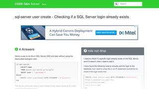 Checking if a SQL Server login already exists - CODE Q&A Solved