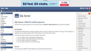 SQL Server: CREATE LOGIN statement - TechOnTheNet