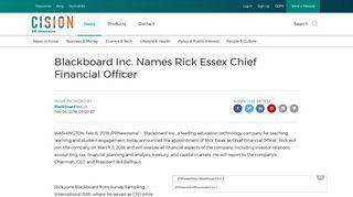 Blackboard Inc. Names Rick Essex Chief Financial Officer