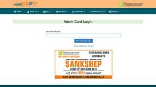 Admit Card Login - ResoSTEP