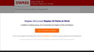 by Email or Employee ID - Staples Perks at Work