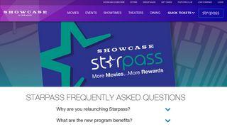FAQs about Showcase StarPass Loyalty Program   Showcase Cinemas