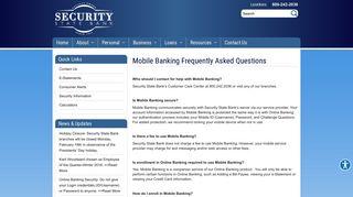 Mobile Banking Frequently Asked Questions | Security State Bank