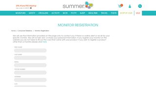 Monitor Registration - Summer Infant - Baby Products
