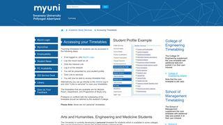 Accessing Timetables - MyUni - Swansea University