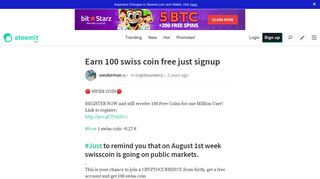 Earn 100 swiss coin free just signup — Steemit