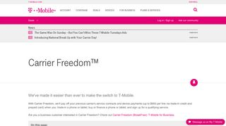 Carrier Freedom™ | T-Mobile Support