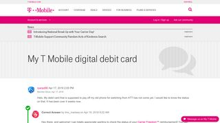 My T Mobile digital debit card | T-Mobile Support