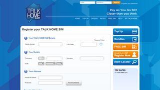 Register your TALK HOME SIM