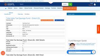 Tata India Tax Savings Fund - Direct (G) - Tata Mutual Fund -Nav ...