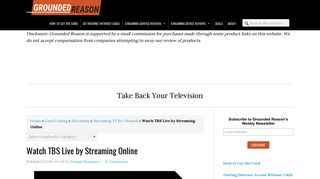 Watch TBS Live by Streaming Online   Grounded Reason