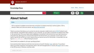 About telnet - IU Knowledge Base - Indiana University