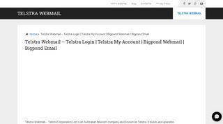 Telstra Webmail - Telstra Login   Telstra My Account   Bigpond Webmail