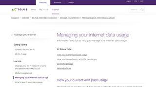 Managing your internet data usage | Support | TELUS.com