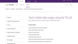 Track mobile data usage using My TELUS | Support | TELUS.com