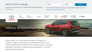 Address or Ownership Change - Toyota Canada