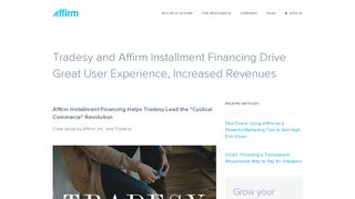 Tradesy and Affirm Installment Financing Drive Great User Experience ...