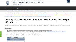 Setting Up UBC Student & Alumni Email Using ActiveSync on iOS ...