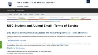 UBC Student and Alumni Email - Terms of Service | UBC Information ...