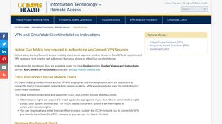 Remote Access: Directions for Client Installation - UC Davis Health
