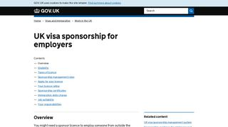 UK visa sponsorship for employers - GOV.UK