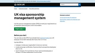 UK visa sponsorship management system - GOV.UK