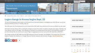 Logon change to Kronos begins Sept. 22 - UNC Health Care News