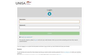 Login - CAS – Central Authentication Service - Unisa
