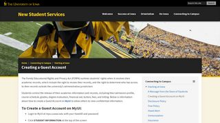 Creating a Guest Account - New Student Services - University of Iowa
