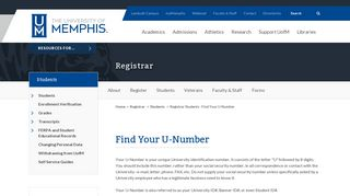 Registrar Students - Find Your U-Number - Registrar - The University ...