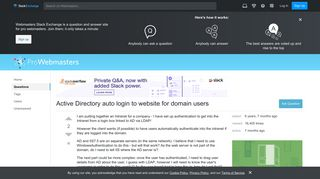 asp.net - Active Directory auto login to website for domain users ...
