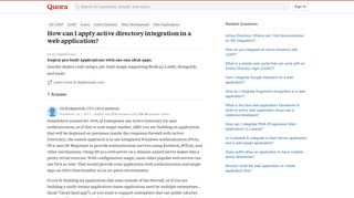 How to apply active directory integration in a web application - Quora
