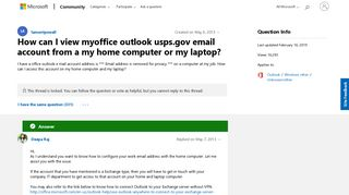 How can I view myoffice outlook usps.gov email account from a my ...
