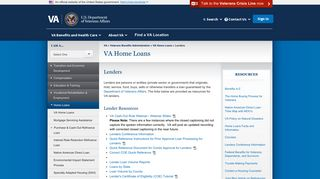 Lenders - VA Home Loans - Veterans Benefits Administration - VA.gov