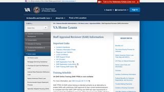 Staff Appraisal Reviewer (SAR) Information - VA Home Loans