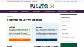 Resources for Current Students   Thomas Nelson Community College