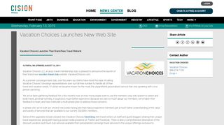 Vacation Choices Launches New Web Site