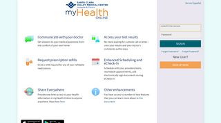 myHealth Online - Santa Clara Valley Medical Center