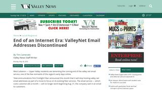 Valley News - End of an Internet Era: ValleyNet Email Addresses ...