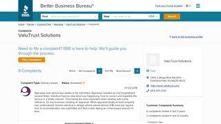 ValuTrust Solutions | Complaints | Better Business Bureau® Profile