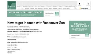 How to get in touch with Vancouver Sun | Vancouver Sun